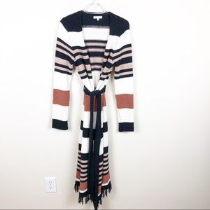 Moon River Striped Chenille Duster Fringe Cardigan